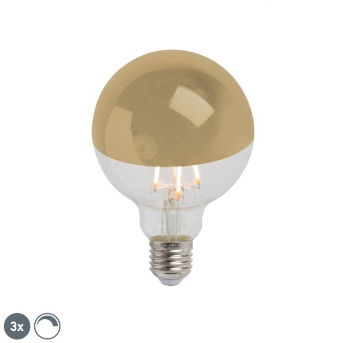 Set-di-3-specchietti-LED-dimmerabili-E27-G95-oro-280lm-2300K