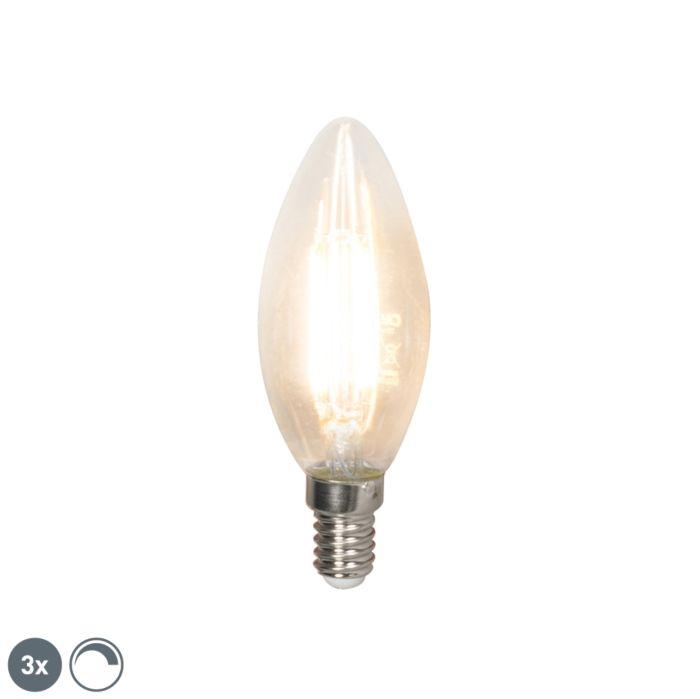Set-di-3-candele-a-filamento-LED-E14-240V-3,5W-350lm-B35-dimmerabili