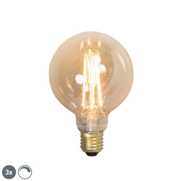 Set-di-3-lampade-a-filamento-LED-dimmerabili-E27-G95-goldline-2100K