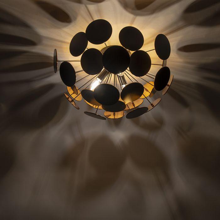 Plafoniera-design-nera-con-oro-54-cm-a-3-luci---Cerchio