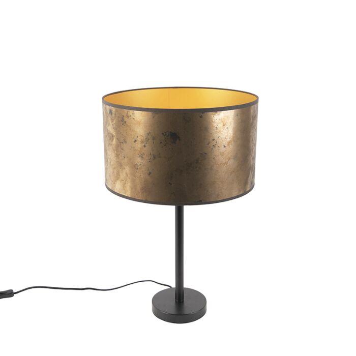 Lampada Da Tavolo Art Deco Nera Con Paralume In Bronzo Antico 35 Cm Simplo Lampadaeluce