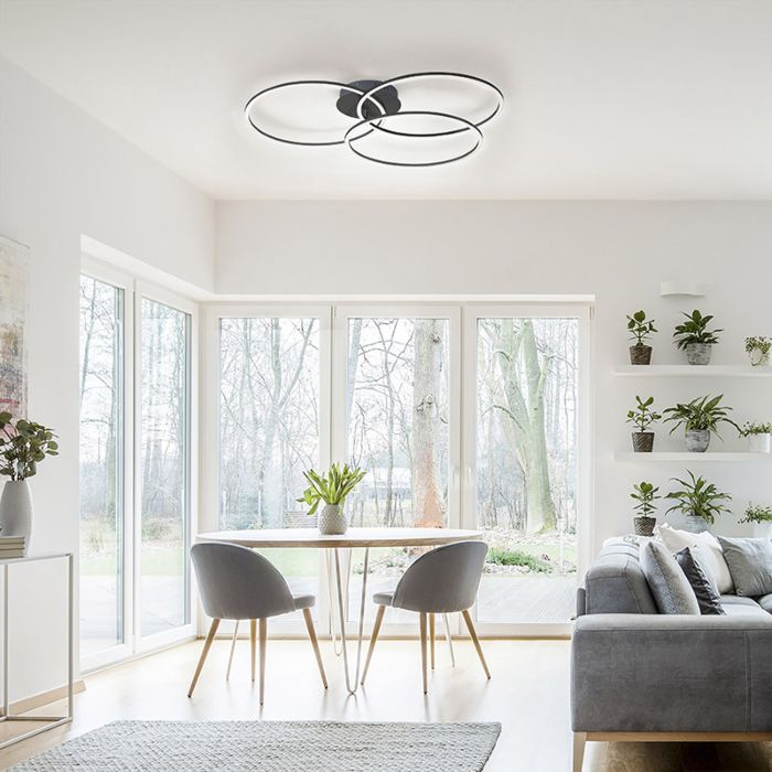 Plafoniera-design-nera-con-LED-e-dimmer-a-3-luci---Julka