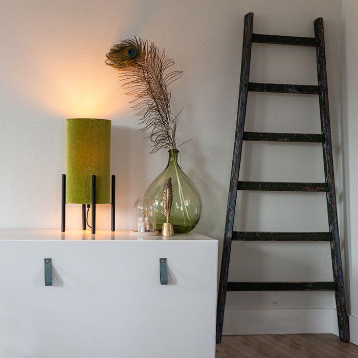 Lampada-da-tavolo-design-velluto-nero-paralume-verde-con-oro---Rich