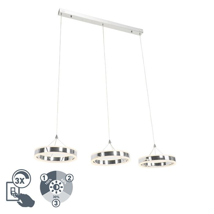 Moderne-hanglamp-chroom-3-lichts-incl.-LED-3-staps-dimbaar---LyaniQ