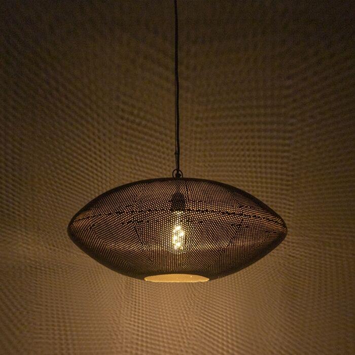 Lampada-a-sospensione-di-design-nera-con-oro-60-cm---Radiance
