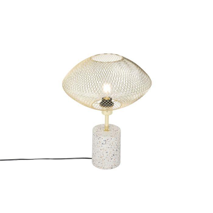 Lampada Da Tavolo Design Bianca Con Ottone Ella Lampadaeluce