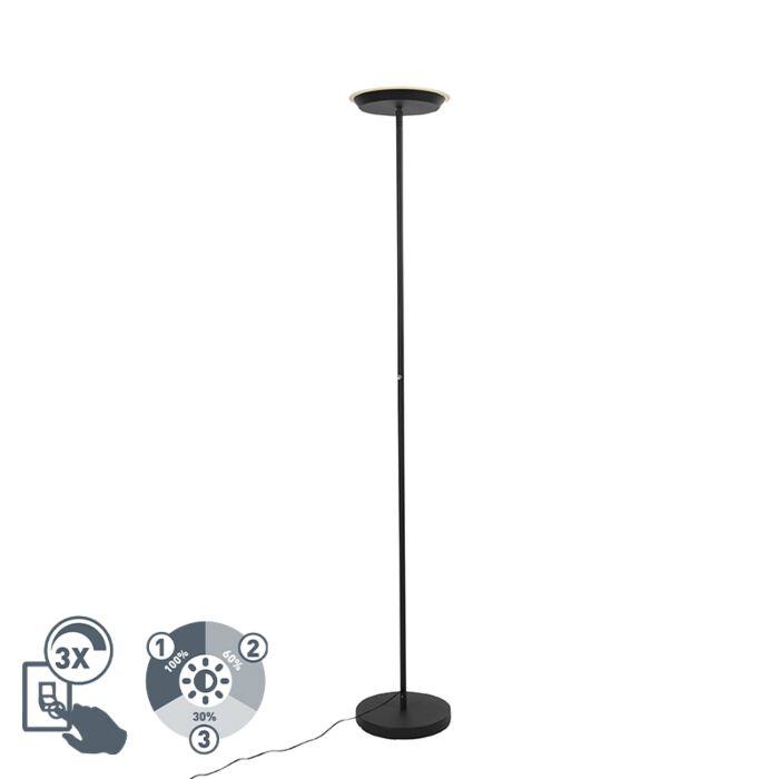 Lampada-da-terra-nera-dimmerabile-a-3-livelli-con-LED-e-dimmer-tattile---Pondi