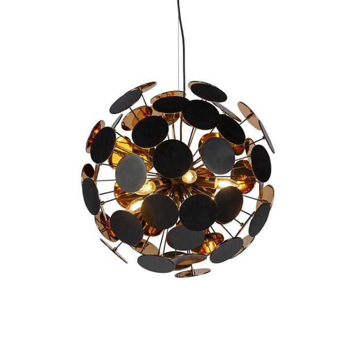 Lampada-a-sospensione-di-design-nera-con-oro---Cerchio