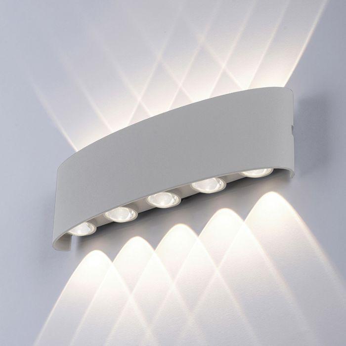 Lampada-da-parete-moderna-grigia-27-cm-incl.-LED-IP54---Wendy