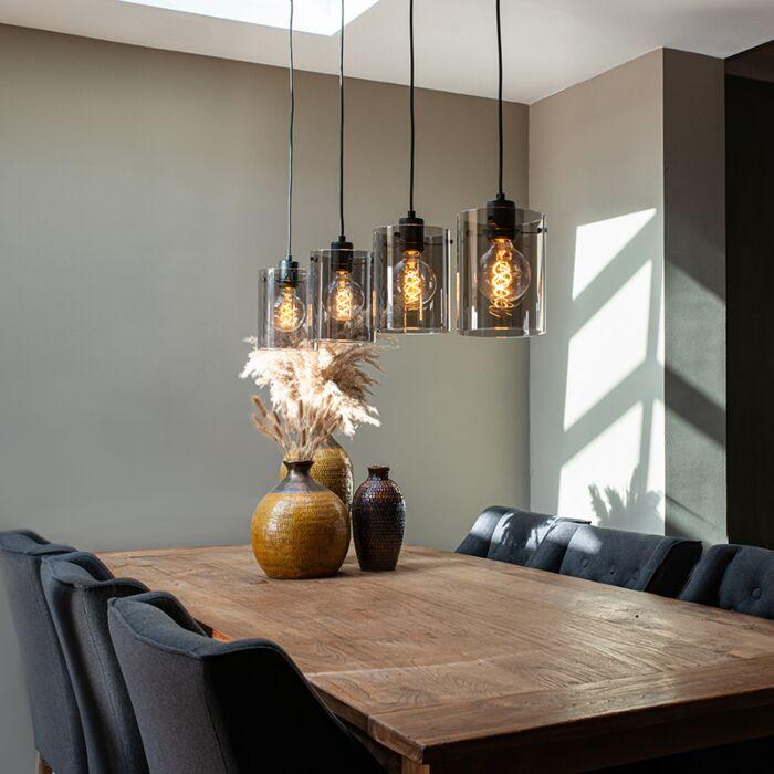 Lampada-a-sospensione-di-design-nera-con-vetro-fumé-a-4-luci---Dome