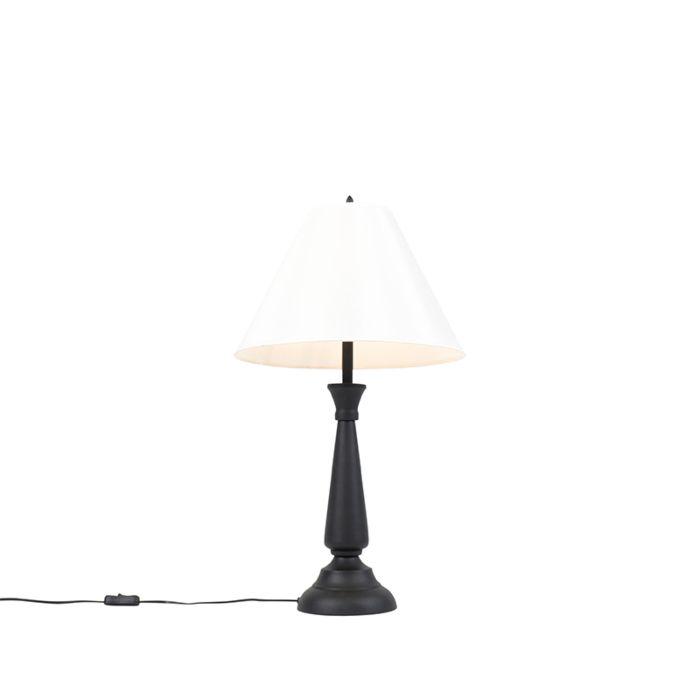 Lampada Da Tavolo Classica Nera Con Paralume Crema Taula Lampadaeluce