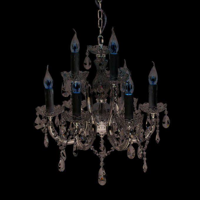 Lampadario-'Marie-Theresa-6'-classico-trasparente/plastica---adatto-per-LED-/-interno