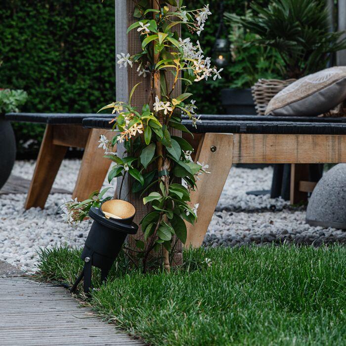 Lampada-spot-da-giardino-nera-con-cavo-e-spina-IP65---Done