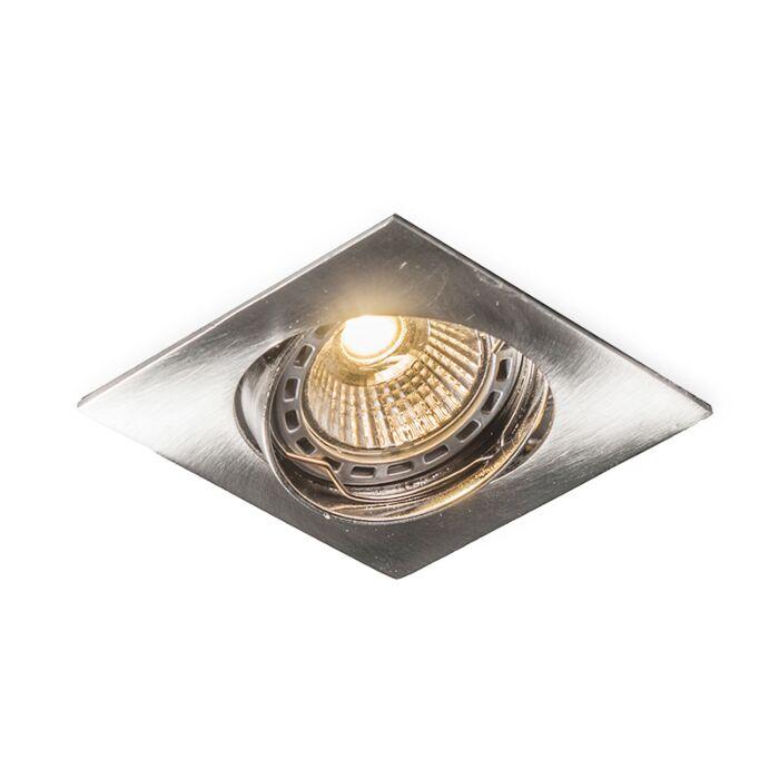 Faretto-da-incasso-'Edu-Q'-moderno-acciaio---adatto-per-LED,-include-LED-/-interno