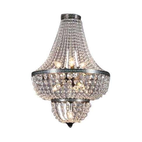 Lampadario-'Valencia-'-classico-trasparente/vetro---adatto-per-LED-/-interno