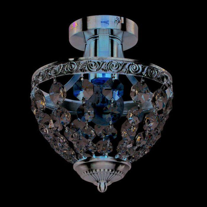 Plafoniera-'Valencia-20'-classico-acciaio/cristallo---adatta-per-LED-/-interna