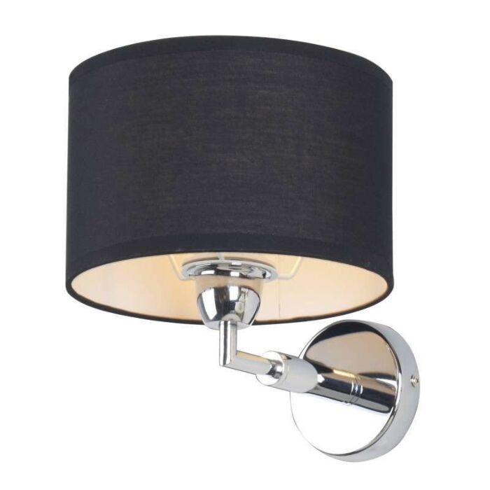 Applique-con-paralume-'Lugar'-moderno-nero/tessuto---adatto-per-LED-/-interno
