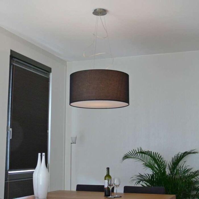 Lampada-a-sospensione-con-paralume-'Drum-60'-moderna-nera/tessuto---adatta-per-LED-/-interna