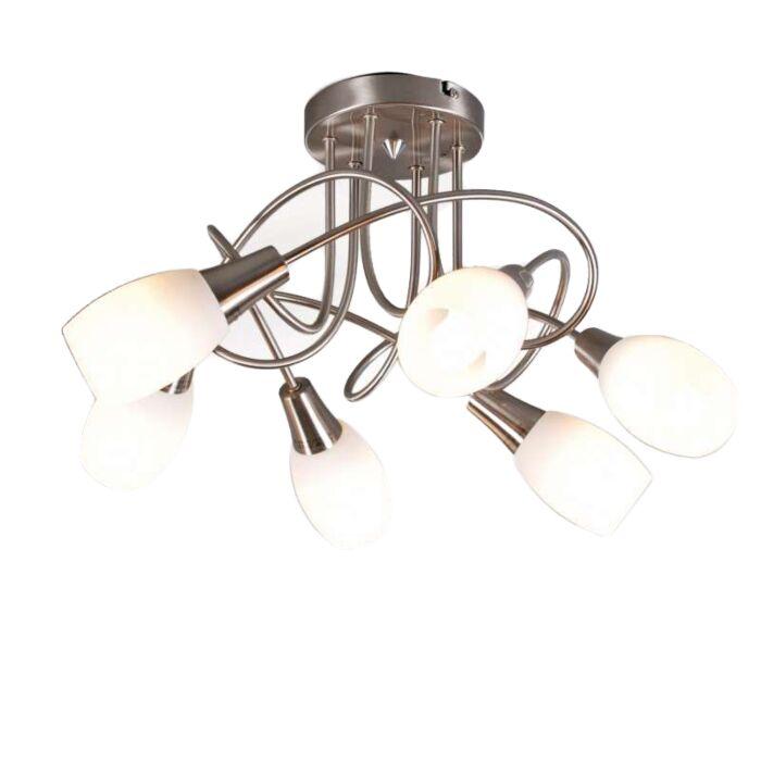Plafoniera-'Andrea-6'-moderna-acciaio---adatta-per-LED-/-interna