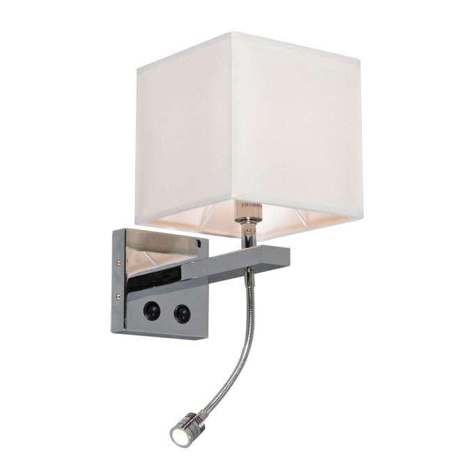 Applique-con-paralume-'Brescia'-design-crema/tessuto---adatto-per-LED-/-interno