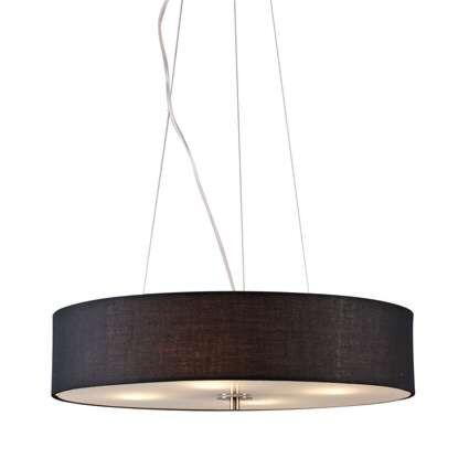 Lampada-a-sospensione-'Drum-50-Short'-moderna-nera/tessuto---adatta-per-LED-/-interna