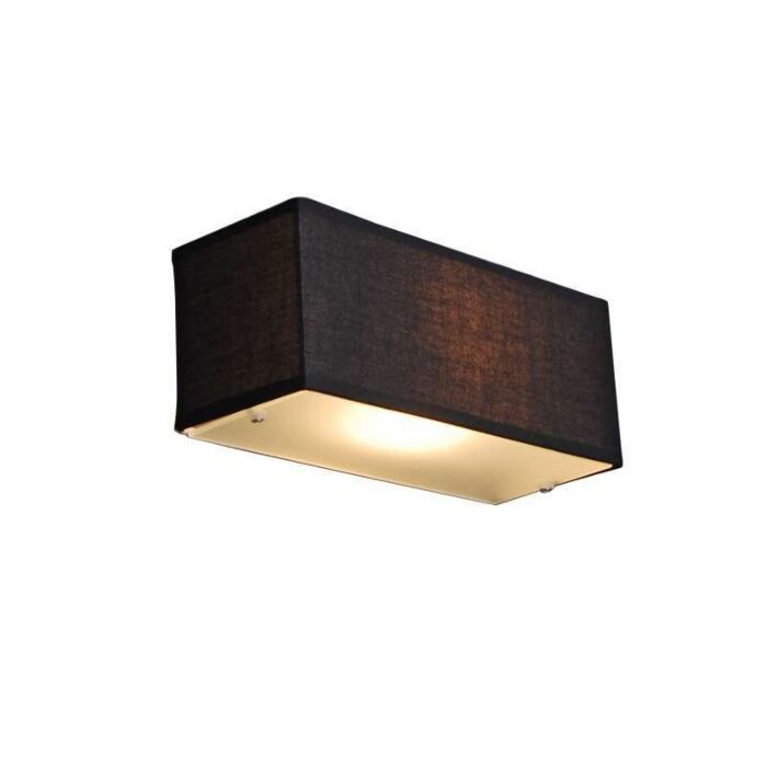 Applique-con-paralume-'Drum-S'-moderno-nero/tessuto---adatto-per-LED-/-interno