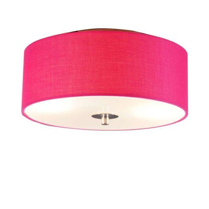 Plafoniera-con-paralume-'Drum-30-R'-moderna-rosa/tessuto---adatta-per-LED-/-interna
