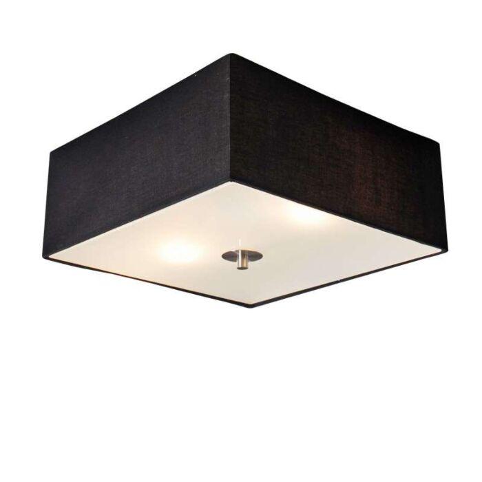 Plafoniera-con-paralume-'Drum-35-Q'-moderna-nera/tessuto---adatta-per-LED-/-interna