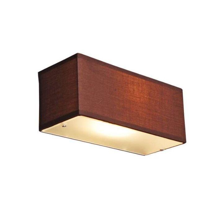 Applique-con-paralume-'Drum-S'-moderno-caffè/tessuto---adatto-per-LED-/-interno