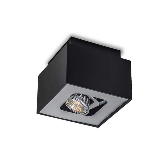 Faretto-'Box-S'-design-nero/metallo---adatto-per-LED-/-interno