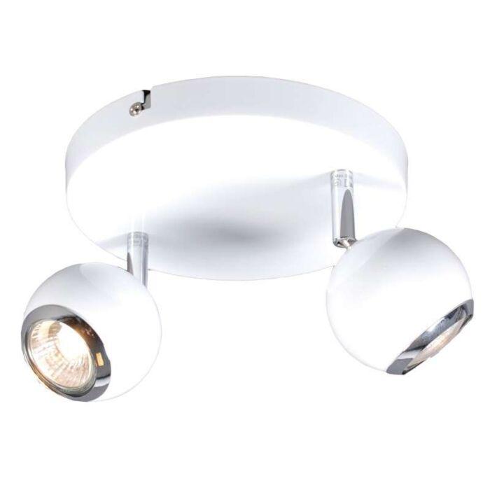 Faretto-'Buell-2'-retro-blanco/metallo---adatto-per-LED-/-interno