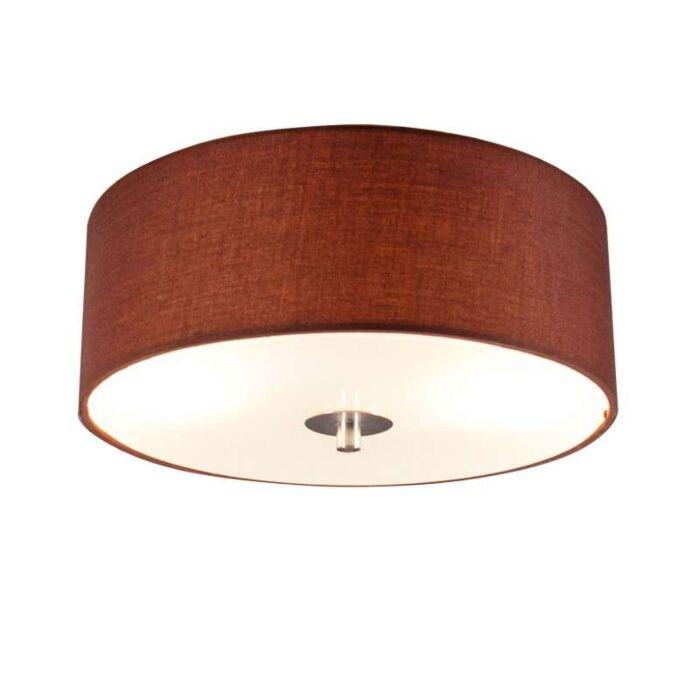 Plafoniera-con-paralume-'Drum-30-R'-moderna-caffè/tessuto---adatta-per-LED-/-interna