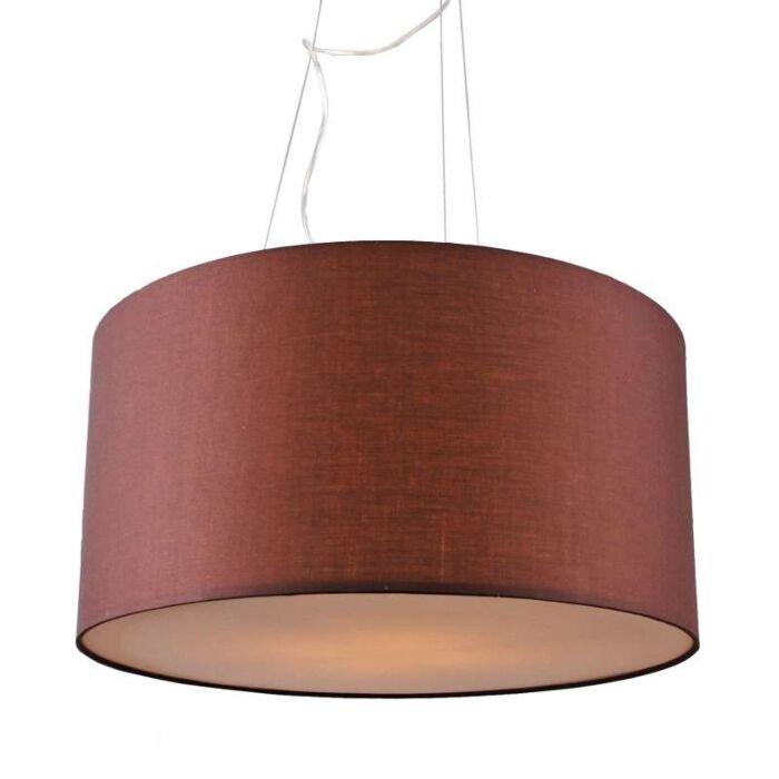 Lampada-a-sospensione-con-paralume-'Drum-60'-moderna-caffè/tessuto---adatta-per-LED-/-interna
