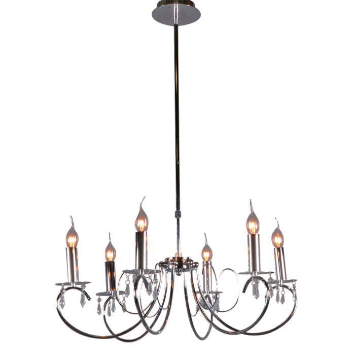 Lampadario-grande-'Lecler-6'-classico-cromo---adatto-per-LED-/-interno