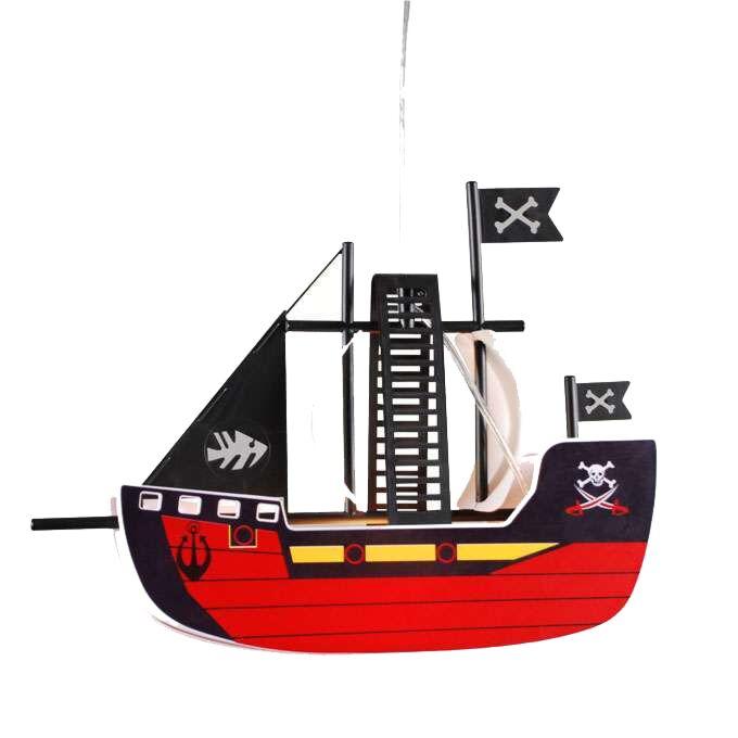 Lampada-a-sospensione-'Pirateship'-infantile-rossa/plastica---adatta-per-LED-/-interna