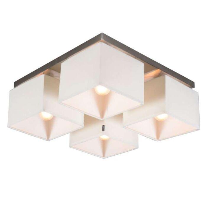 Plafoniera-'VT-4'-moderna-blanca/tessuto---adatta-per-LED-/-interna