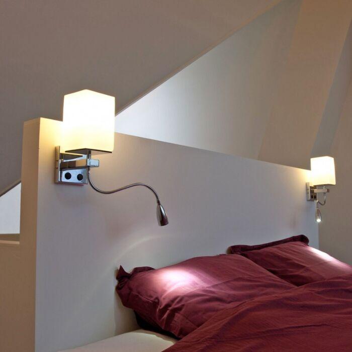 Applique-con-braccio-da-lettura-'Brescia'-moderno-cromo---adatto-per-LED-/-interno