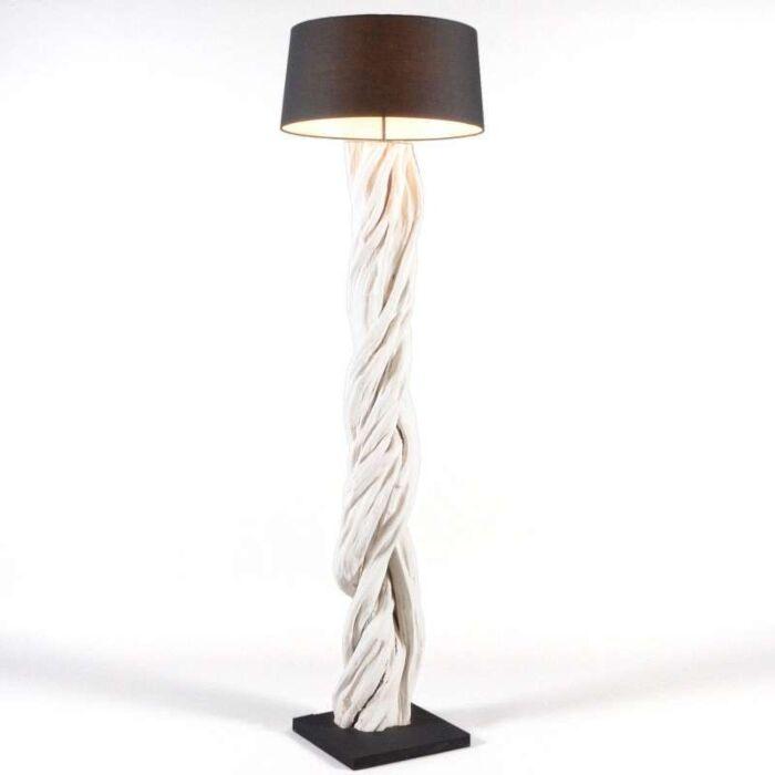 Lampada-da-terra-con-paralume-'Arich'-design-blanca/legno---adatta-per-LED-/-interna