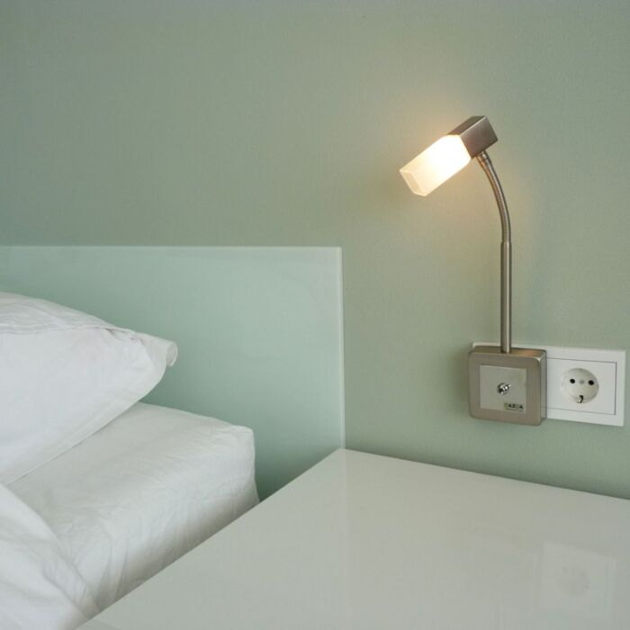 Faretto-con-spina-'Plug-Flex'-moderno-acciaio---adatto-per-LED-/-interno