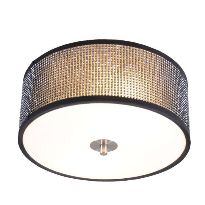 Plafoniera-'Drum-30'-design-nera/cristallo---adatta-per-LED-/-interna