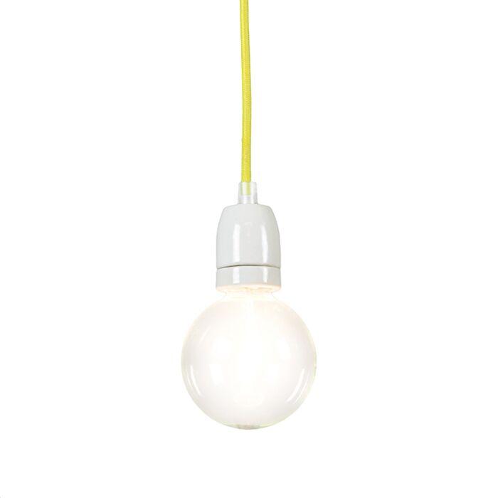 Lampada-a-sospensione-minimalista-'Cavo'-moderna-giallo/tessuto---adatta-per-LED-/-interna