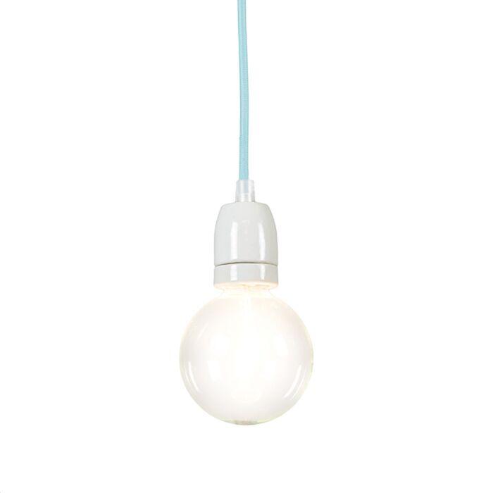 Lampada-a-sospensione-grande-'Cavo'-moderna-blu/tessuto---adatta-per-LED-/-interna