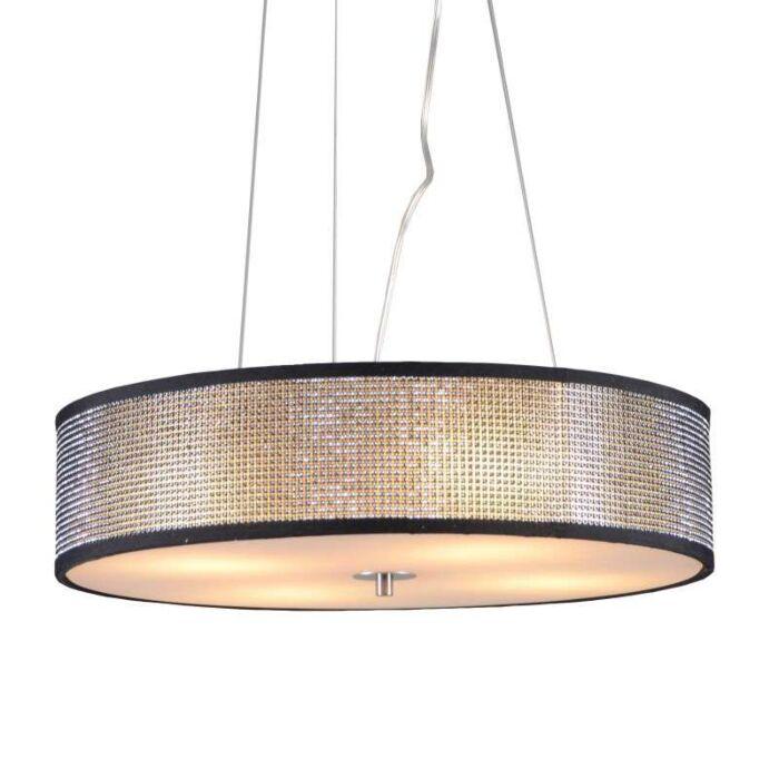 Lampada-a-sospensione-grande-'Drum-50-Short'-design-grigia/cristallo---adatta-per-LED-/-interna