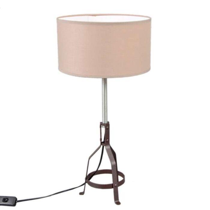 Lampada-da-tavolo-con-paralume-'Metallo'-rustica-grigia-talpa/tessuto---adatta-per-LED-/-interna