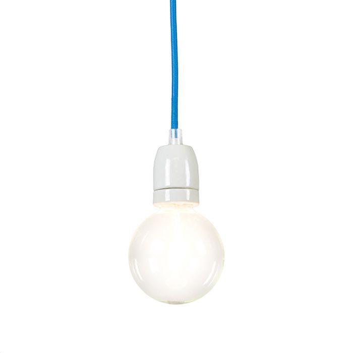 Lampada-a-sospensione-minimalista-'Cavo'-moderna-blu/tessuto---adatta-per-LED-/-interna