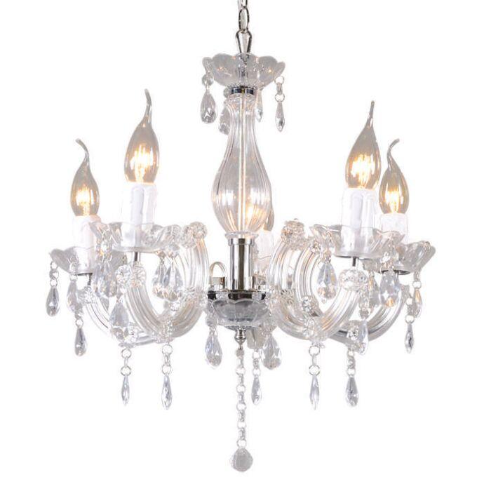 Lampadario-'Marie-Theresa-5'-classico-trasparente/plastica---adatto-per-LED-/-interno