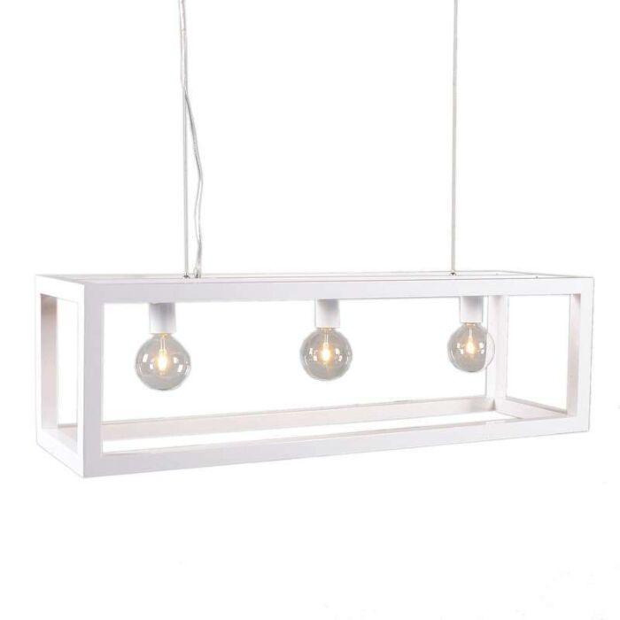 Lampada-a-sospensione-tavolo-soggiorno-'Cage-3'-moderna-blanca/metallo---adatta-per-LED-/-interna