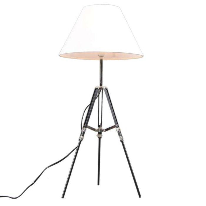 Lampada-da-tavolo-con-paralume-'Tripod'-rustica-nera/metallo---adatta-per-LED-/-interna