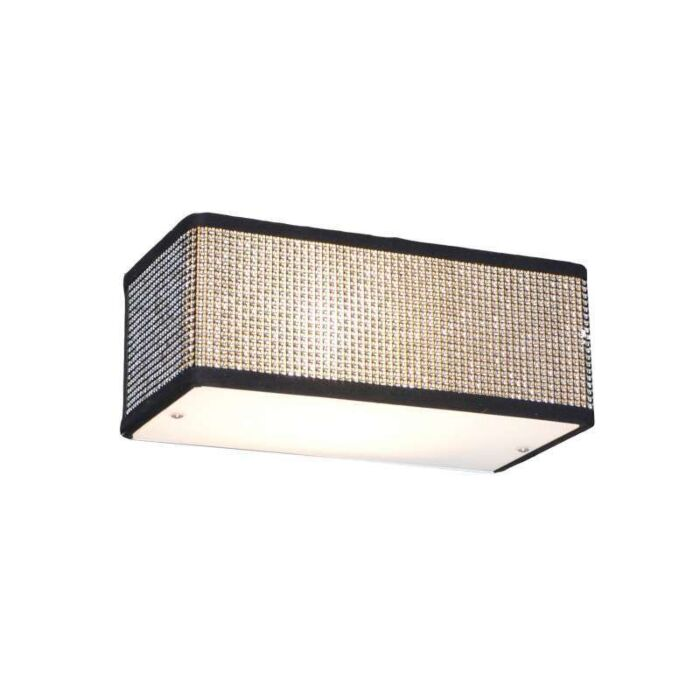 Applique-'Drum-S'-design-nero/cristallo---adatto-per-LED-/-interno