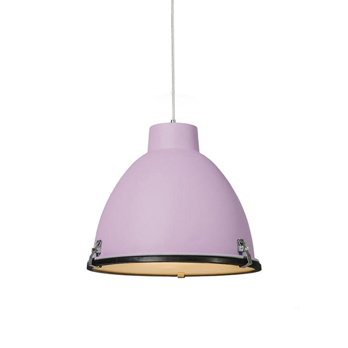 Lampada-a-sospensione-'Anteros-38'-industriale-viola/alluminio---adatta-per-LED-/-interna